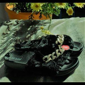 Women indoor/outdoor fur slipper slides with Chain